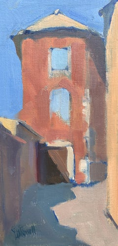Maison Rouge by Lesley Powell, Petite Vertical Post-Impressionist Painting