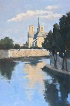 'Notre Dame at First Light' Medium Vertical Post-Impressionist Parisian Painting