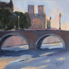 Notre Dame, West Facade by Lesley Powell Petite Parisian Impressionist Painting
