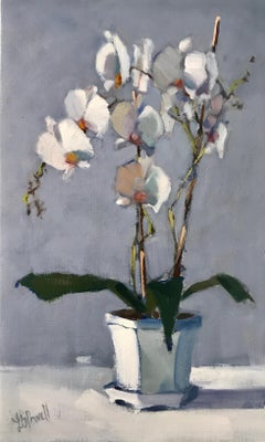 Orchids Clustered by Lesley Powell, Vertical Framed Floral Oil on Linen Painting