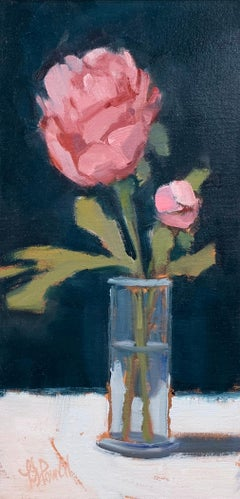 Peonies in Bud Vase by Lesley Powell, Small Oil on Board Still-Life Painting
