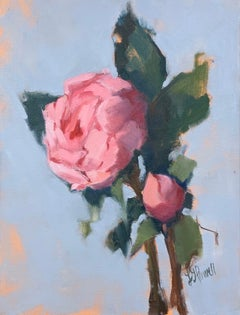 Peony with Bud by Lesley Powell, Small Post-Impressionist Painting