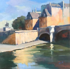 Pont Neuf and Henri IV by Lesley Powell, Square Oil on Canvas Parisian Scene