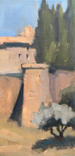 St. Hilaire by Lesley Powell, Small Vertical Post-Impressionist Oil Painting