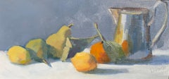 Tankard and Fruit by Lesley Powell, Small Framed Oil on Panel Still-Life