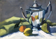 Teapot with Green Napkin by Lesley Powell, Small Horizontal Fruit Still Life
