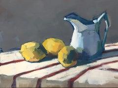 Three Lemons and Creamer by Lesley Powell, Small Horizontal Fruit Still Life