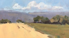 Two Fields, Petite Impressionist South of France Painting