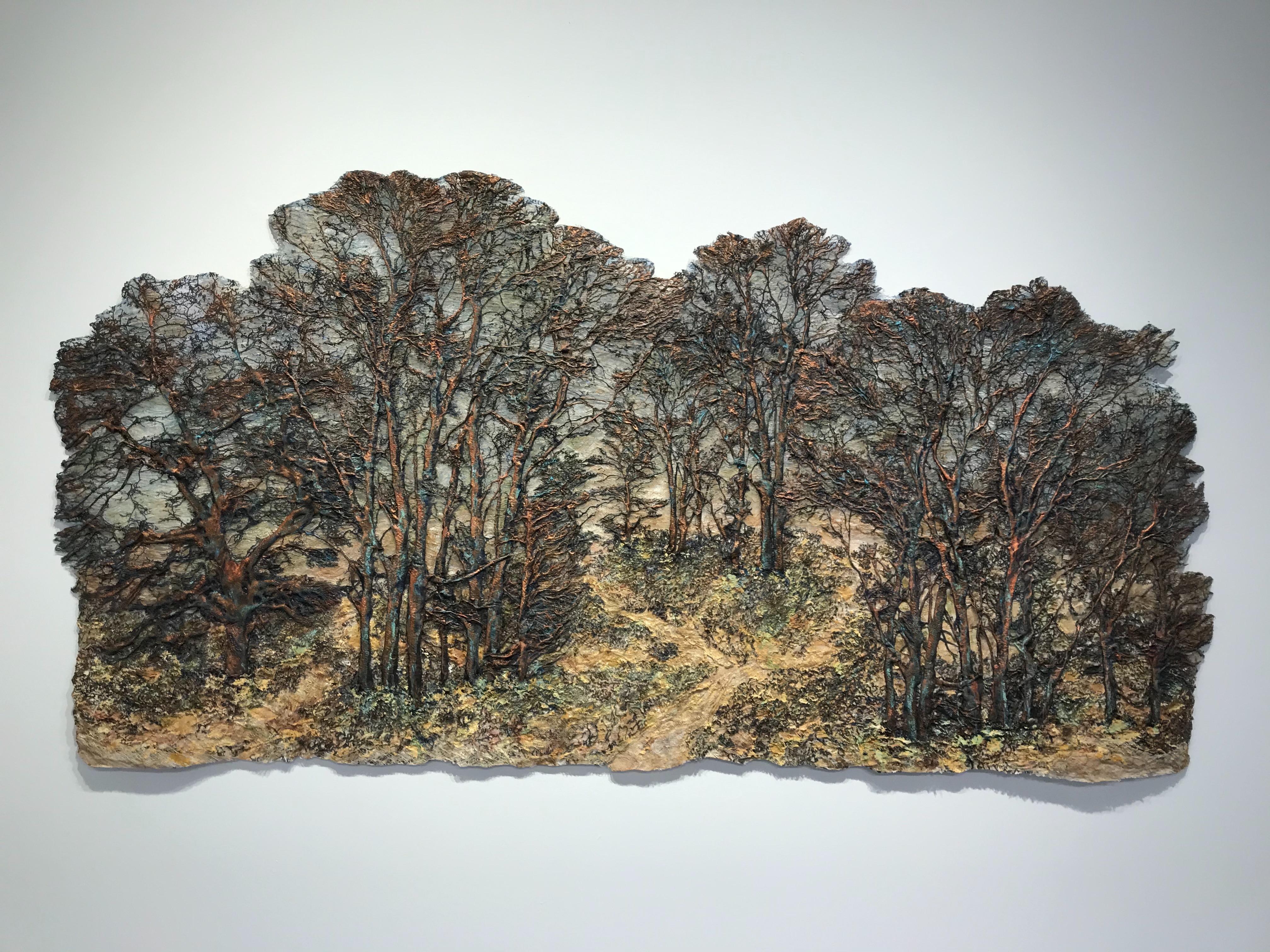 """Autumn Glow"", Contemporary, Mixed Media, Landscape, Trees, Nature, Fiber, Silk"