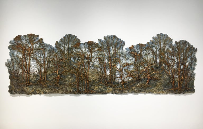 """""""Forest"""", Contemporary Mixed Media Textile, Cotton and Silk with Acrylic Paint - Mixed Media Art by Lesley Richmond"""