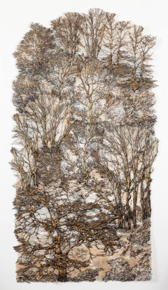 """Secret Forest Gold"", Contemporary Mixed Media Textile with Cotton and Silk"