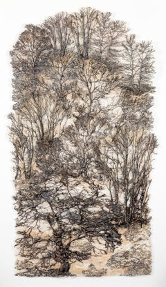 """Secret Forest, Silver"", Contemporary Mixed Media Textile with Cotton and Silk"