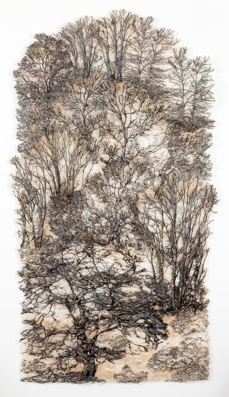 """Lesley Richmond Still-Life Sculpture - """"Secret Forest, Silver"""", Contemporary Mixed Media Textile with Cotton and Silk"""
