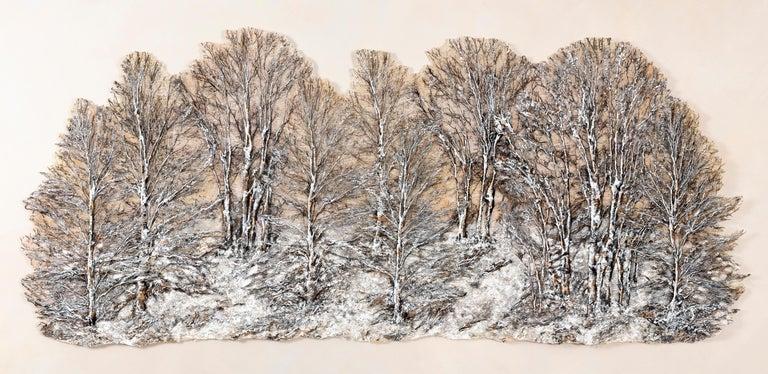 "Lesley Richmond Still-Life Sculpture - ""Winter Light Dawn"", Contemporary, Mixed Media, Textile, Wall Sculpture"