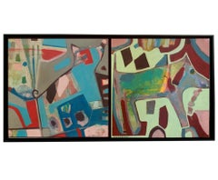 """""""Dogs with pearl"""" diptych mixed media on board by Lesley"""