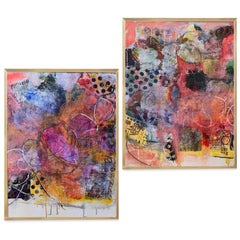 """""""Kinetic"""" diptych mixed media on board 36"""" x 48"""" each piece by Lesley"""