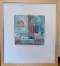 """""""Stratum 4"""" oil & wax on board & photo 14.5"""" x 16.5"""" framed by Lesley"""