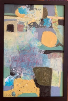 """""""Time and Space"""" mixed media on board 16"""" x  24"""" by Lesley"""