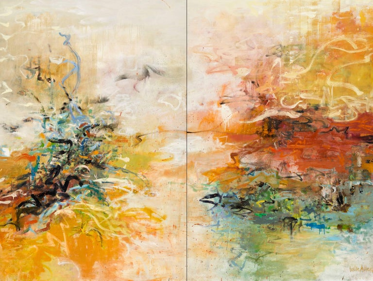 Leslie Allen Abstract Painting - Quietly Tethered, Diptych