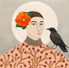 """""""Admiration"""" Neutral mixed media portrait of woman and crow with orange flower"""