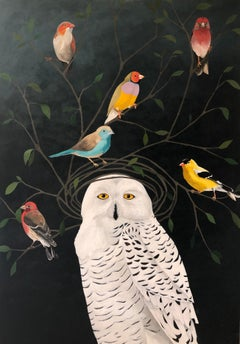 """Snowy Owl with Finches"" mixed media portrait of a white owl on black background"