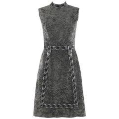 LESLIE FAY Original c.1960's Gray Silver Mock Neck Sleeveless Mod A-line Dress