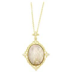 Leslie Greene 18 Karat Rutilated Quartz and Diamond Pendant Necklace