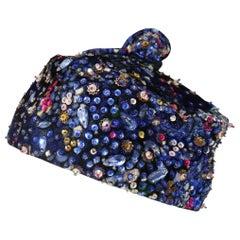Leslie James Blue Jewel Pillbox Hat Circa 1960s