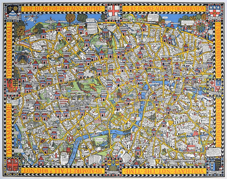 Leslie MacDonald Gill Landscape Print - Wonderground Map of London by MacDonald 'Max' Gill c. 1924 original poster