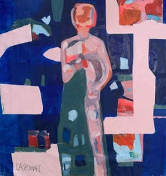 """""""Pink Figure on a blue background"""" oil on canvas 60"""" x 58"""" by Lesley"""