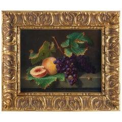 Lesourd De Beauregard French School Oil on Canvas Peach and Grape Stil Life 1850