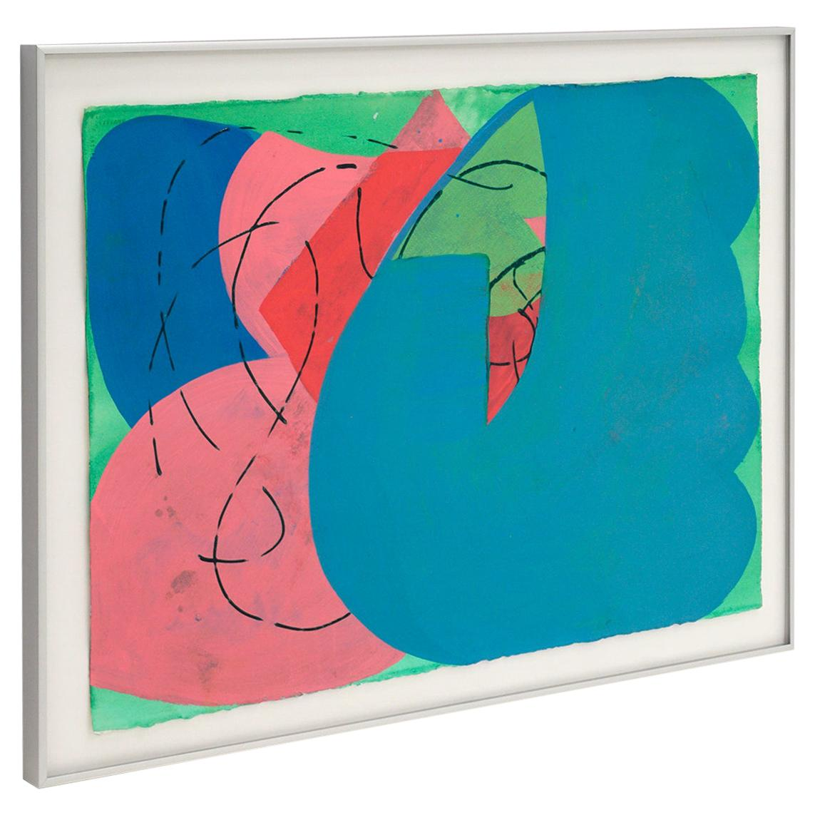 Lester Goldman Abstract Watercolor Painting, Blue, Pink, Green, and Red, Signed