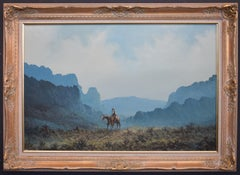 """Lone Rider""  West Texas Western Cowboy Rider Painting."