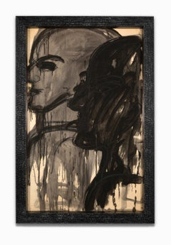 """Untitled"", Inked Profile, Museum Glass, Custom Frame, Mixed Media, India Ink"