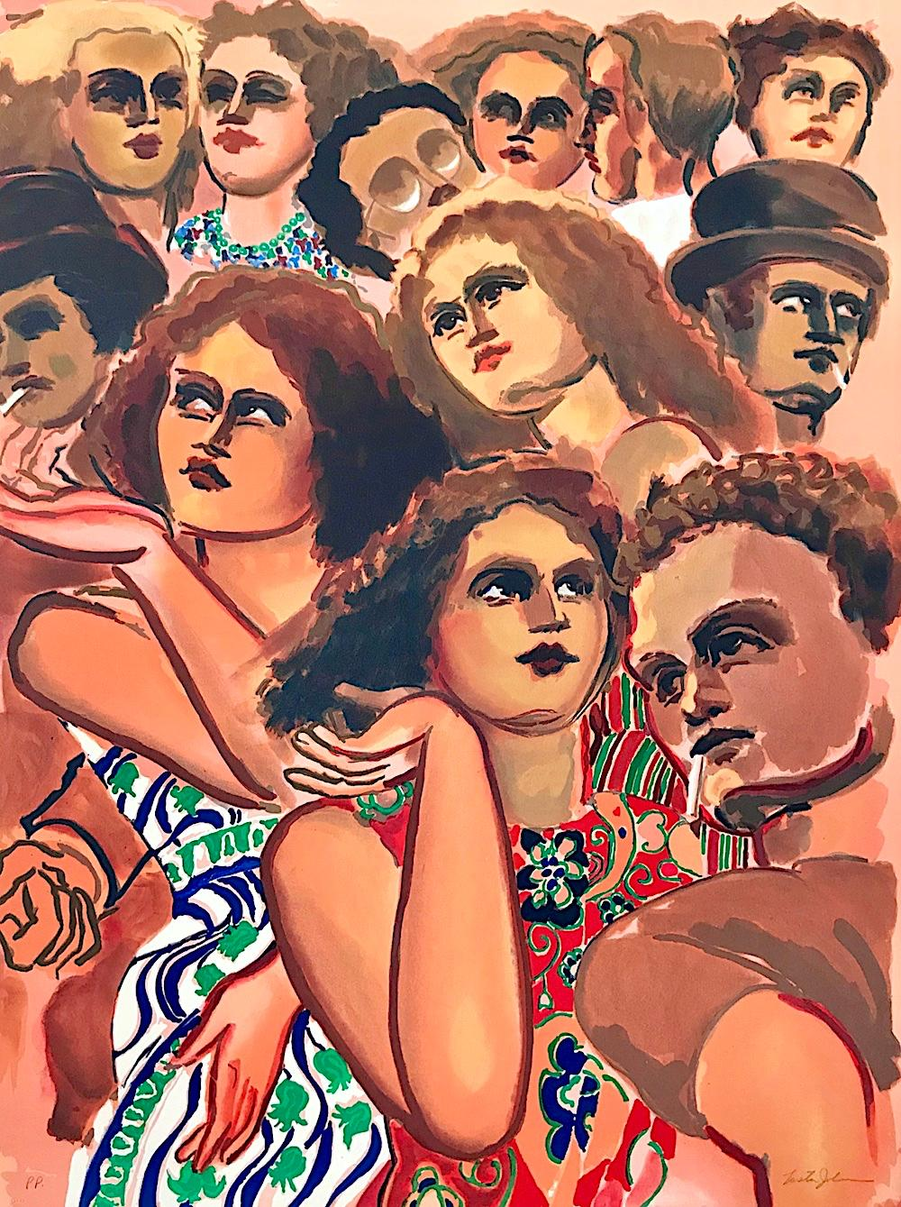 CITY GROUP Signed Lithograph, Crowd Portrait, Faces, Peach, Red, Blue, Brown