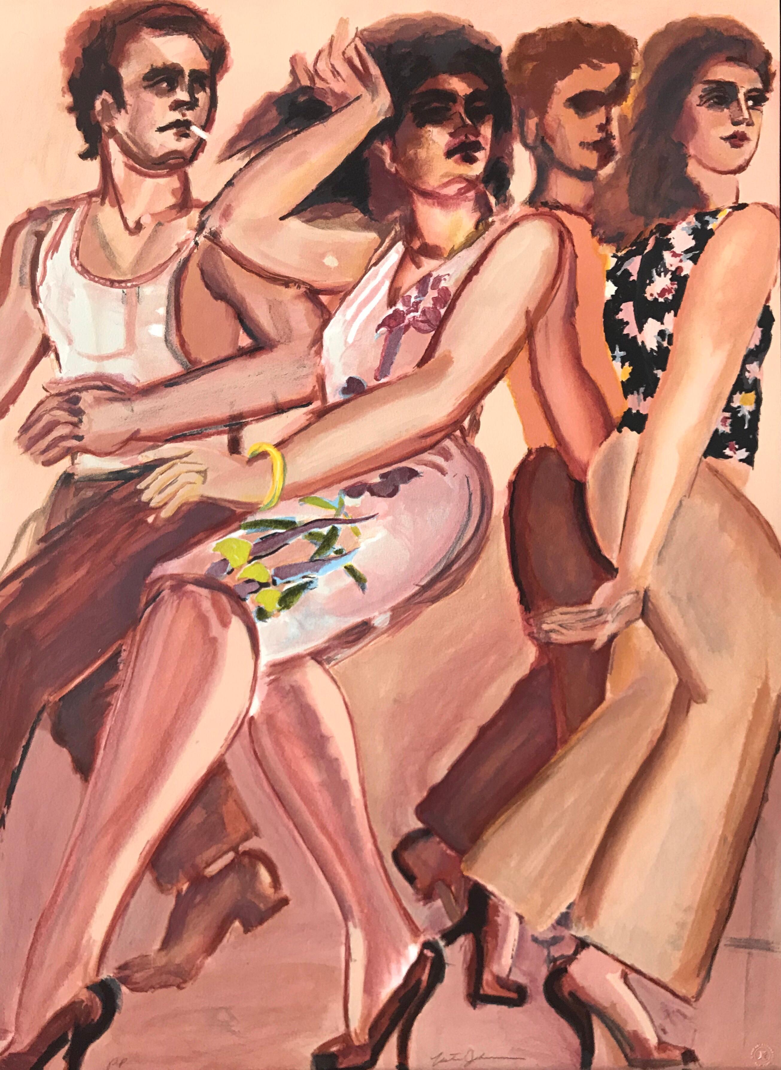 CITY VENUS Signed Lithograph, Men Women Walking, Sheath Dress, Peach Brown Pink