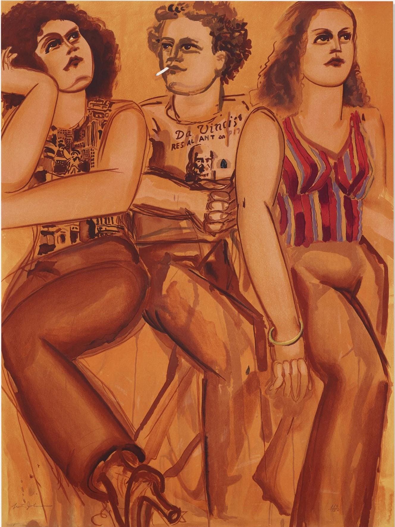 """DaVinci's Restaurant,"" Lester Johnson, Abstract Expressionist, Realist Figures"