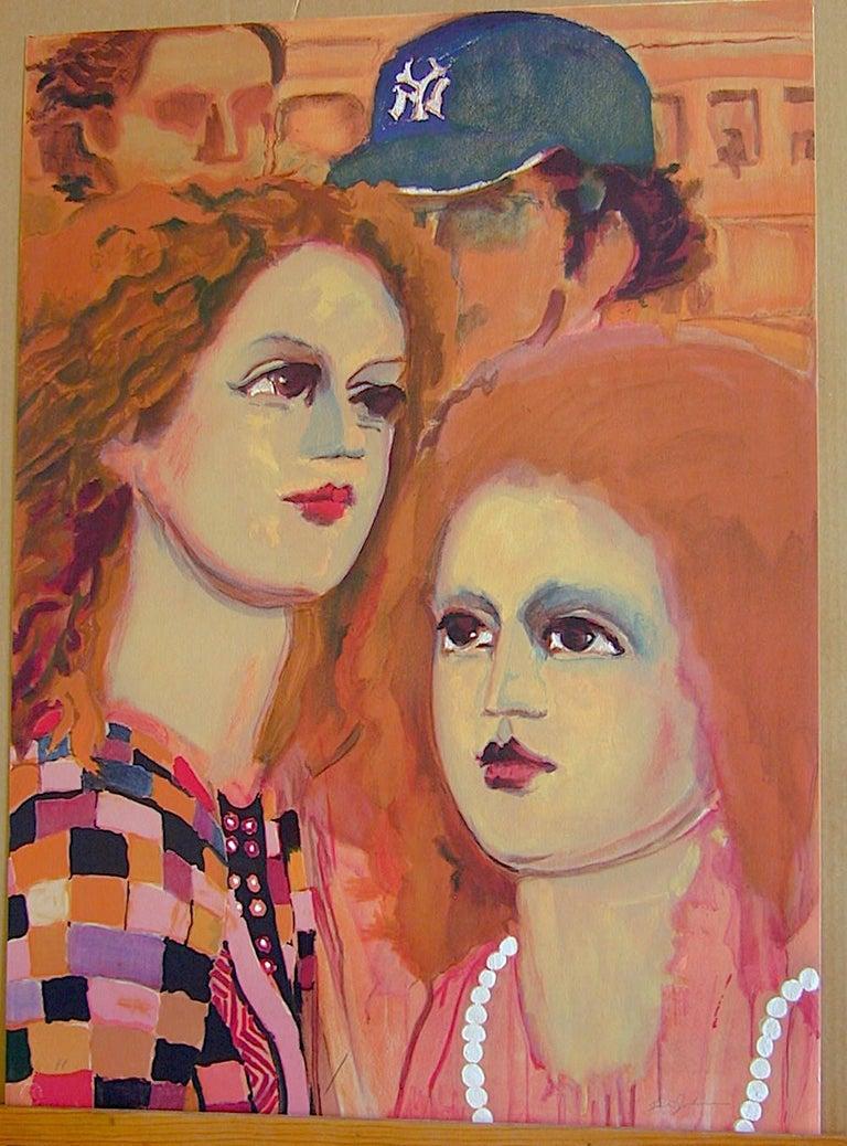 NY SCENE: FACES Signed Lithograph, Closeup Female Portrait, NY Yankees Cap  - Orange Figurative Print by Lester Johnson