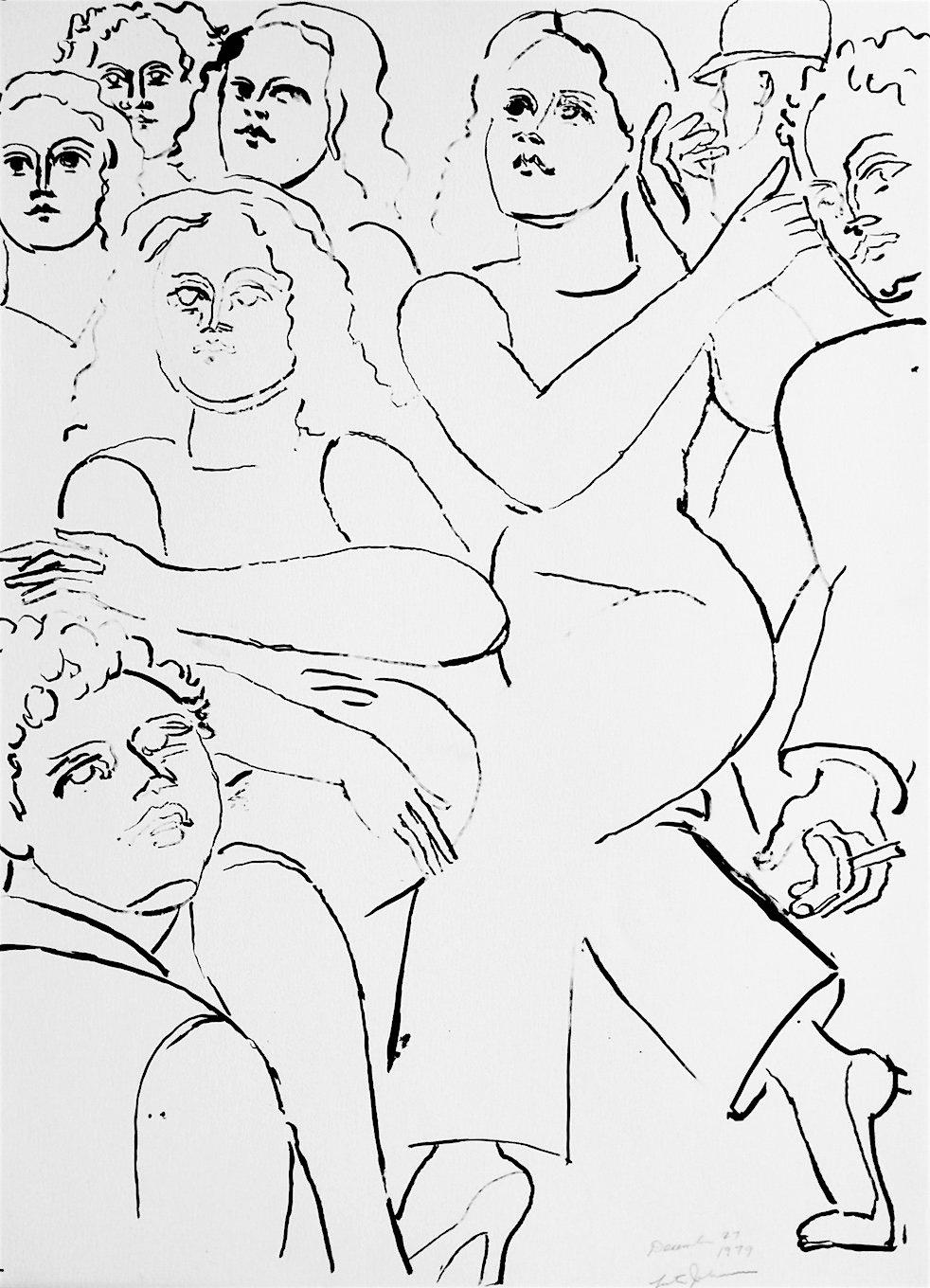 NY STREET SCENE II Hand Drawn Lithograph Black and White Portrait, Expressionist