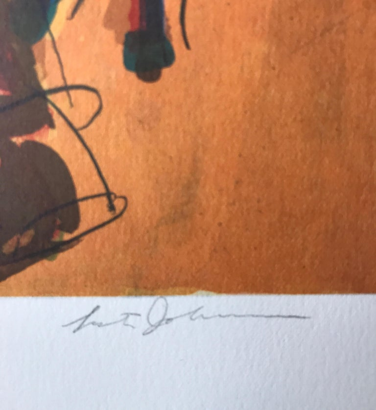 STREET SCENE Signed Lithograph, City People Portrait, Figurative Expressionism - Brown Figurative Print by Lester Johnson