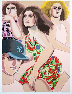 """Three Girls"" from ""Street Scene Portfolio,"" Silkscreen signed by Lester Johnson"