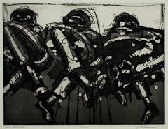 """""""Three Seated Men"""" original etching signed by Lester Johnson"""