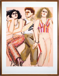 'Two Women & Man With Band T-Shirt' original screenprint by Lester Johnson