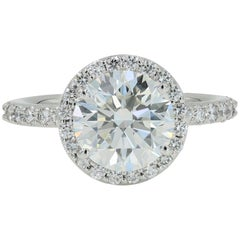 Lester Lampert 3.01 Carat 'H-SI1 GIA' Ideal Cut Round Diamond Ring in Platinum