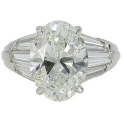 Lester Lampert 5.05 Carat Oval Cut Diamond Ring, G / VS1 with GIA Papers in Plat