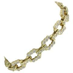 Lester Lampert Designed Diamond Link Bracelet in 18 Karat Yellow Gold