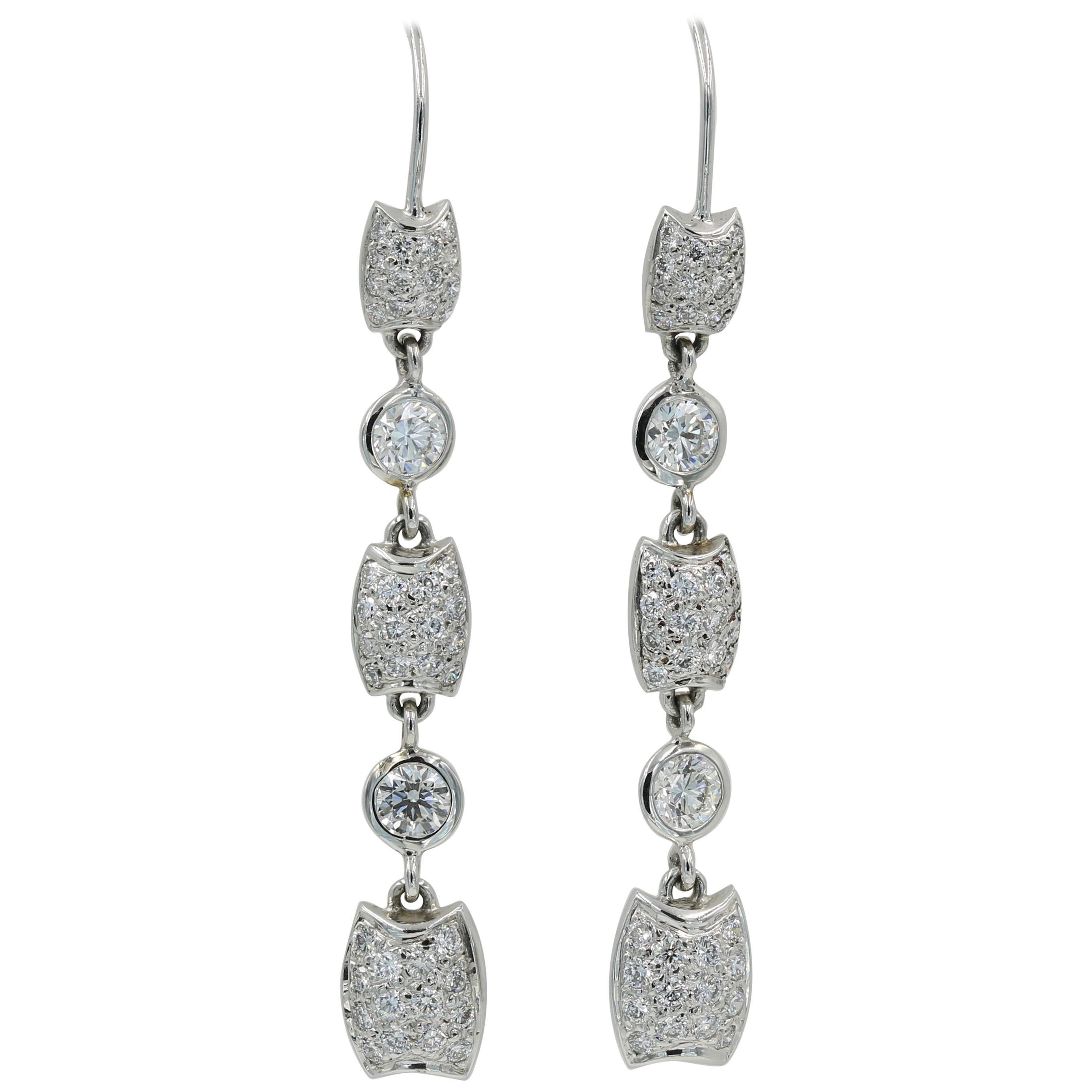 Lester Lampert Diamond Dangle Earring on a Wire Back in 18 Karat White Gold