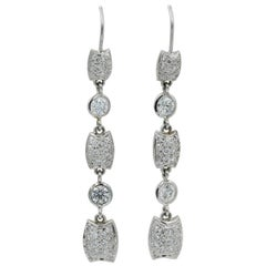Lester Lampert Diamond Dangle Earring on a Wire Back in 18 Karat White Gold