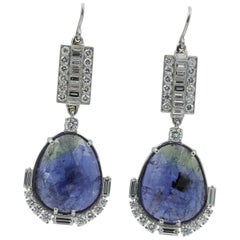 Lester Lampert One-of-a-Kind Tanzanite and Diamond Drop Earrings in Platinum