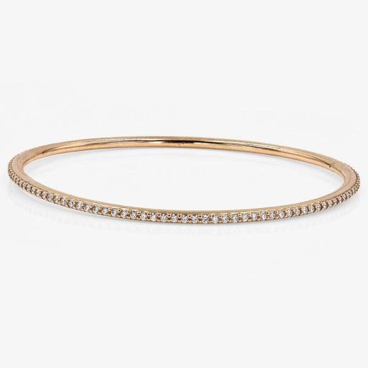 544cd4d79c957 Lester Lampert Original D-Bead Diamond Bangle Bracelet in 18 Karat Rose Gold